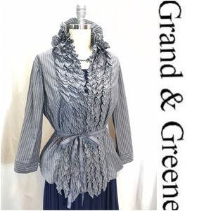 Grand and Greene Grey Stripe Ruffle Blouse, L